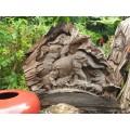 Teak wood elephant carving